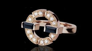 Canturi Regina single link diamond and Australian black sapphire ring in 18ct pink gold, also available in white or yellow gold