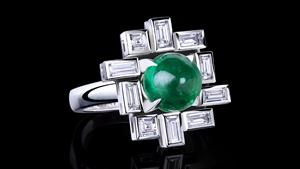 'Stella' large bezel set diamond ring with cabochon green emerald in 18ct white gold.