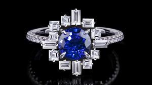 'Stella' ring in 18ct white gold with round brilliant cut ceylon sapphire.