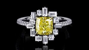 Cubism diamond 'Stella' ring in 18ct white gold with cushion cut fancy intense yellow diamond.