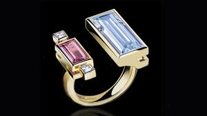 Cubism Colourburst diamond, aquamarine and pink tourmaline ring in 18ct yellow gold.