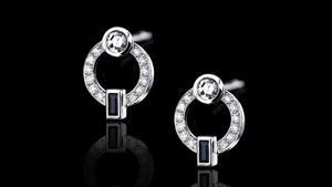 Canturi Metropolis circular diamond earrings featuring Australian black sapphires in 18ct white gold.