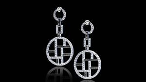 Canturi Metropolis black and white diamond ear pendants, with Vintage rose cut diamonds and Australian black sapphire baguette detail in 18ct white gold.