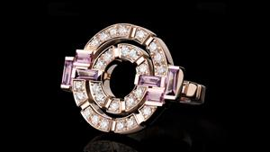 Canturi Regina double link diamond and pink tourmaline ring in 18ct pink gold.